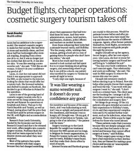 Guardian article: Budget flights cheaper operations: cosmetic surgery tourism takes off