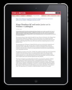 The Lawyer Article website news item on Webster v Liddington