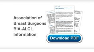 Chris Stone Surgery Association of Breast Surgeons BIA ALCL Information download