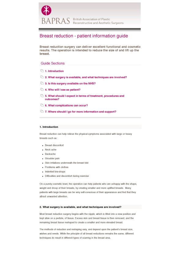 BAPRAS Breast reduction advice pdf download