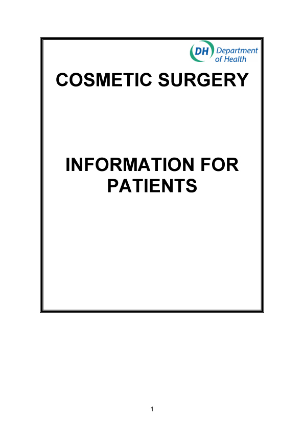 Cosmetic Surgery Department of Health information for patients considering cosmetic surgery advice pdf download